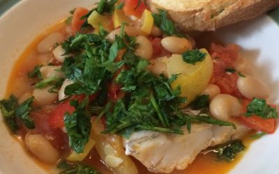 Poached Cod with Tomatoes and Beans