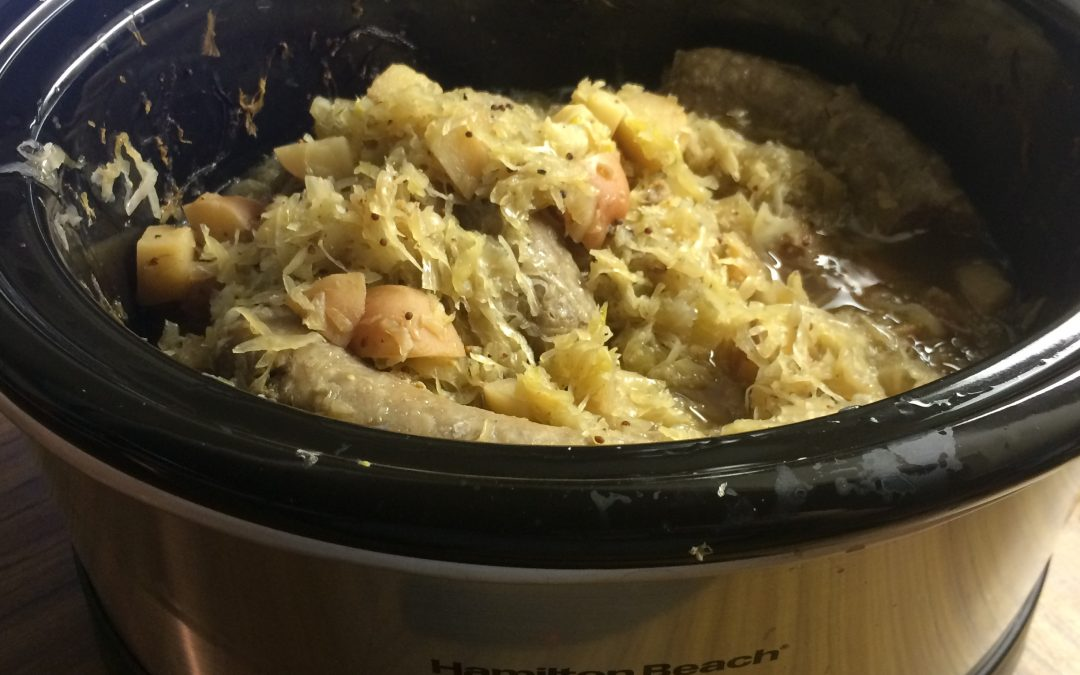 Slow Cooker Bratwurst with Sauerkraut