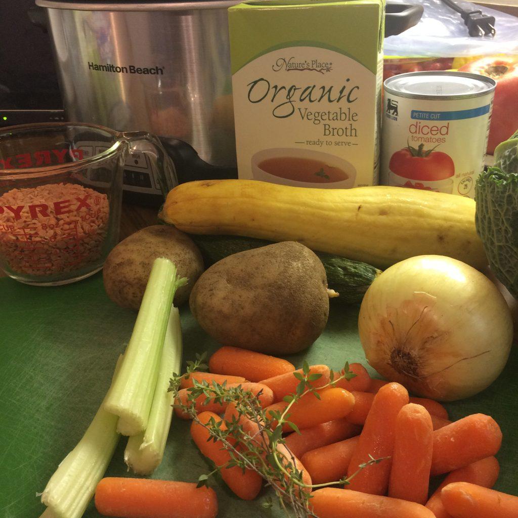 slow cooker vegetable red lentil soup ingredients
