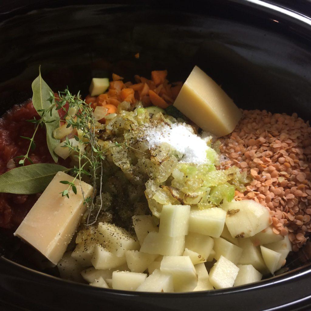slow cooker vegetable red lentil soup preparation