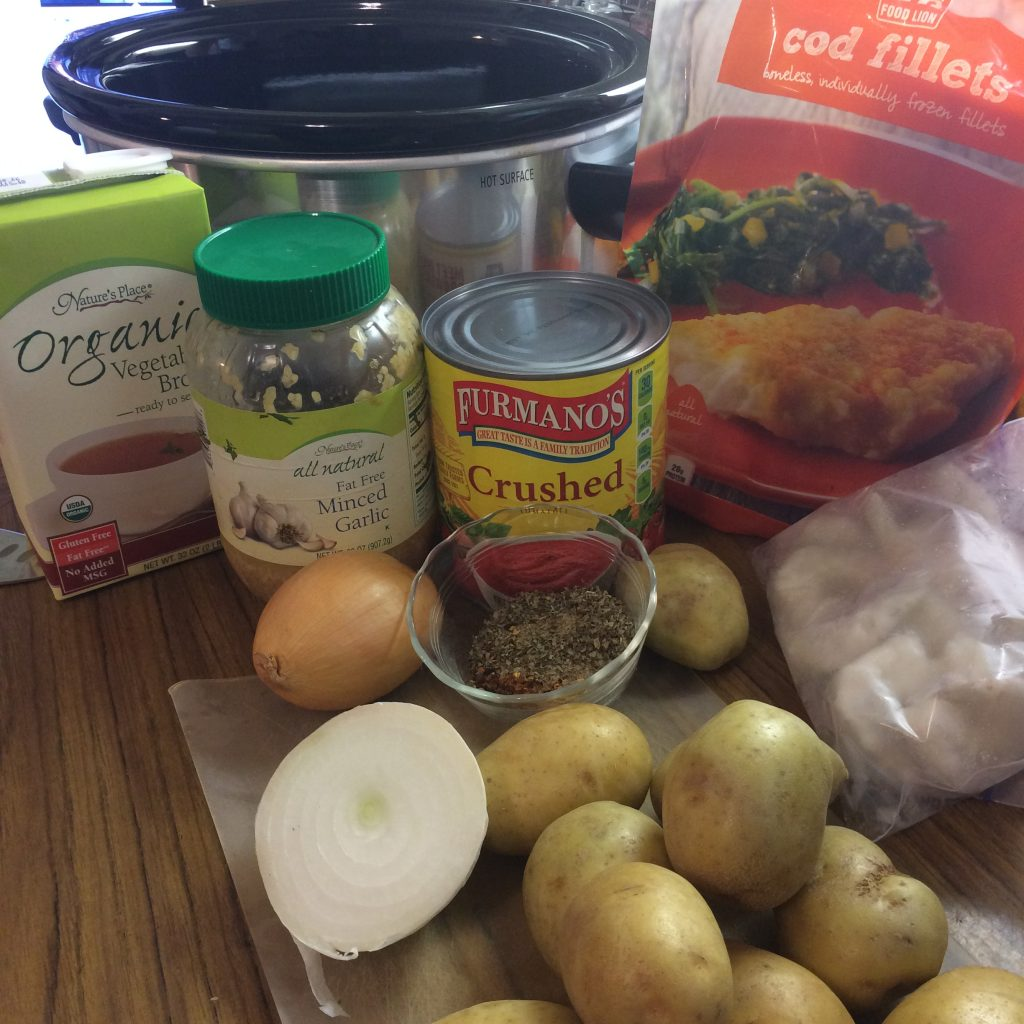 Portuguese-style seafood stew ingredients