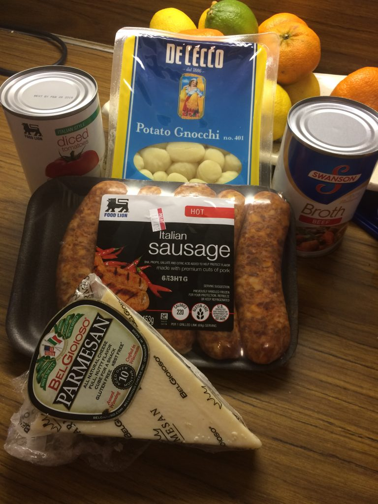 Sausage Gnocchi soup ingredients