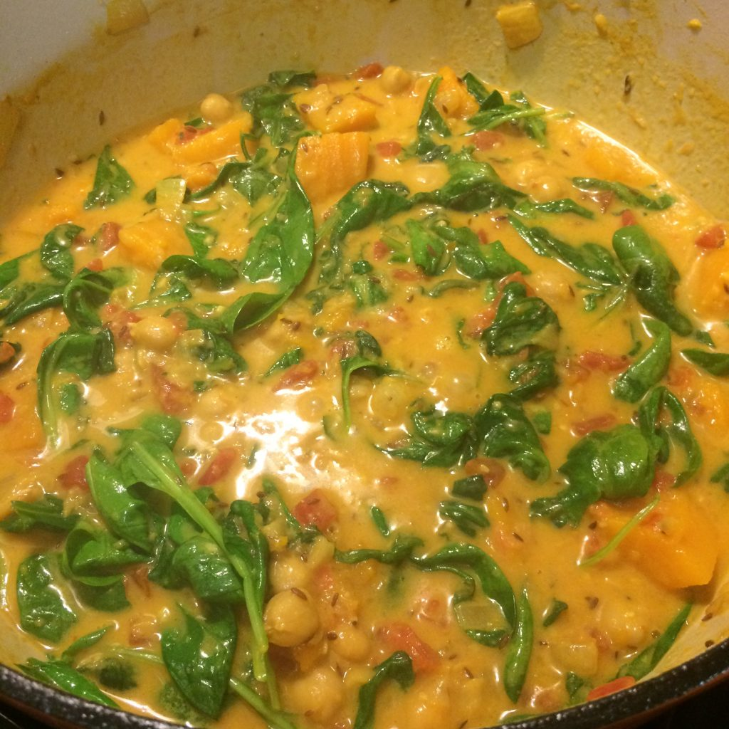 Butternut Squash Spinach Chickpea Curry Simmering