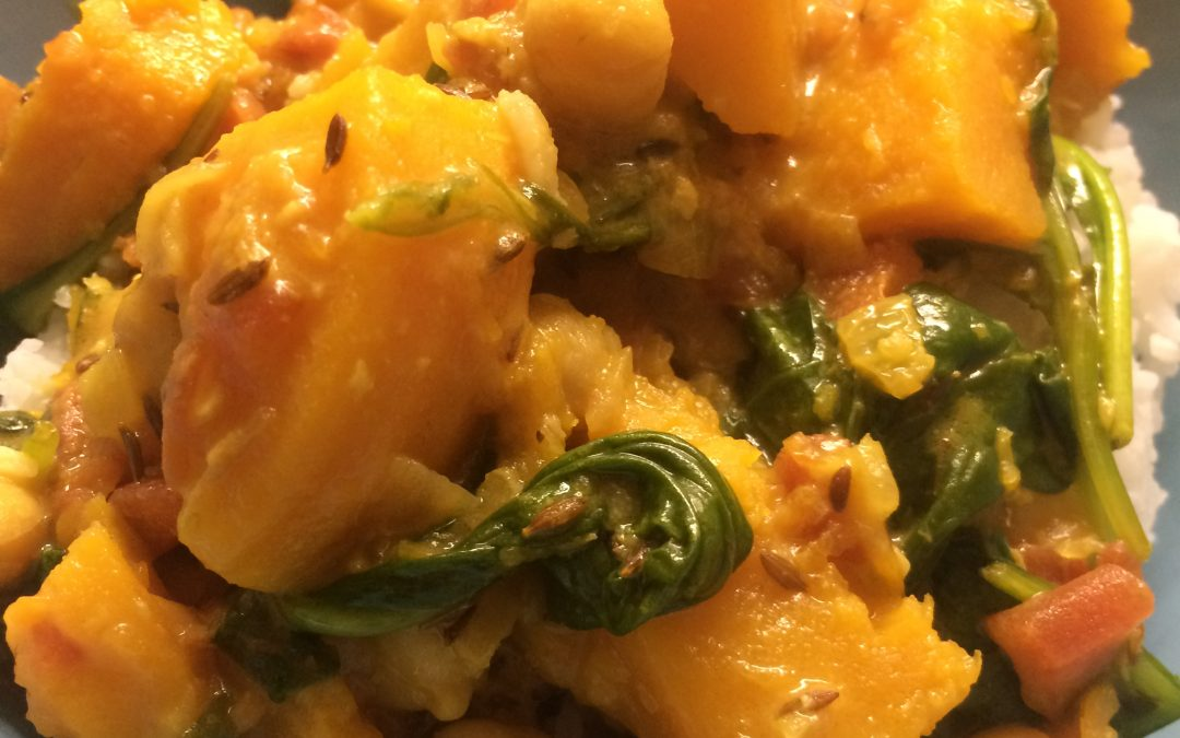 Super Quick Butternut Squash Spinach Chickpea Curry