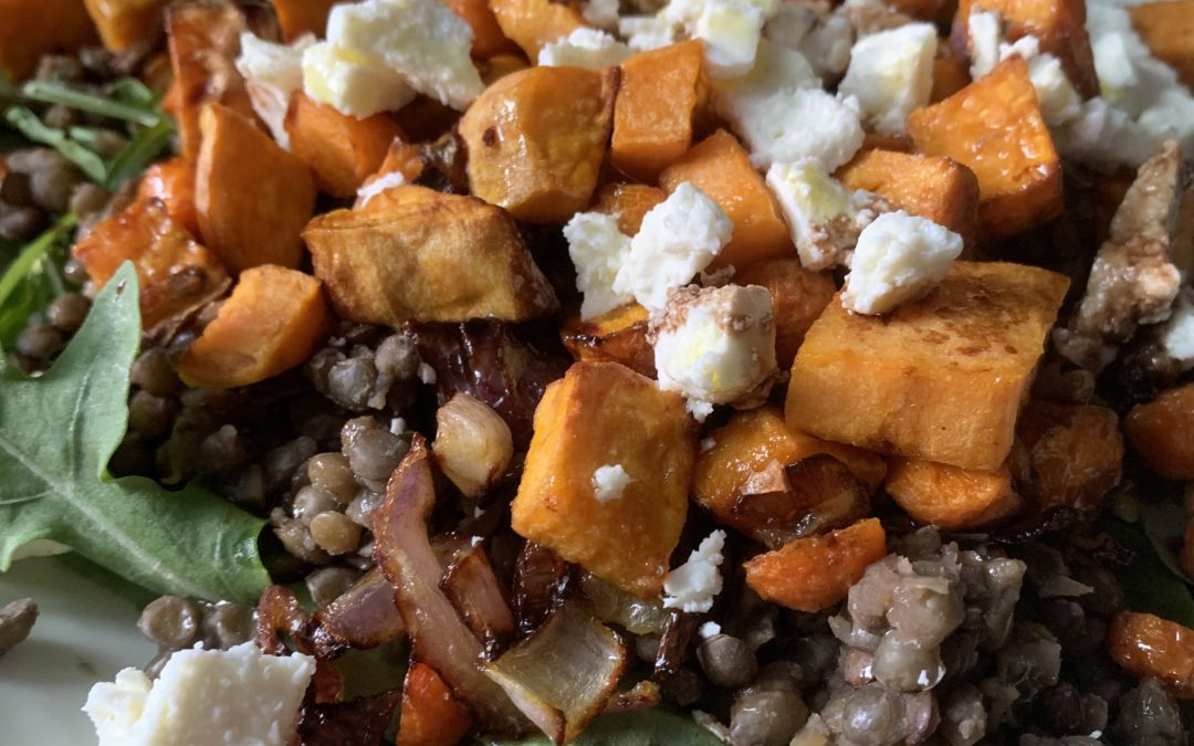 Roasted Sweet Potato Lentil Feta Salad